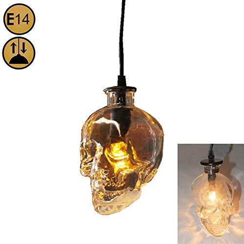 Schädel Kopf Pendelleuchte Retro Glas Hängeleuchte Vintage 1-flammig Totenkopf Lampe Höheverstellbar Pendellampe Fassung E14 Max.40W Licht für Küchen Loft Esstischlampe Schlafzimmerlampe Flurlampe
