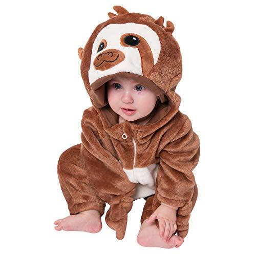 corimori (Baby Onesie Henry das Faultier Süßes Tier Plüsch-Kostüm Strampler Dunkel-Braun Beige (70-90 cm)