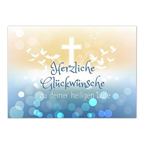 Glückwunschkarte Taufe mit Umschlag/Moderner Verlauf mit Tauben/Taufkarten/Karte für Glückwünsche/zur Feier