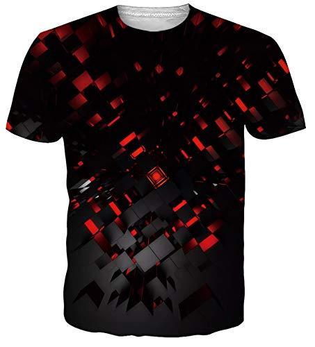 NEWISTAR Men Women 3D Shirts Red Graphic Cool Future Technology Theme Shirt Top Tees