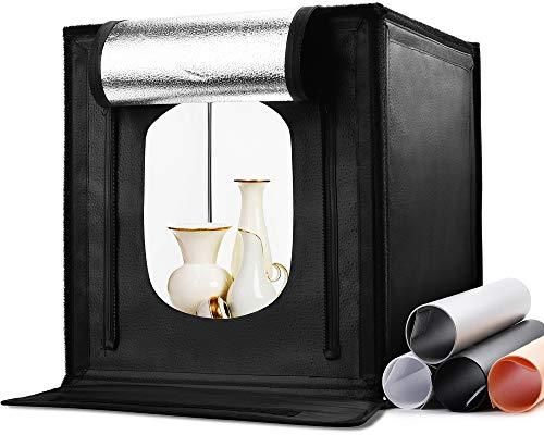 Zecti Fotostudio Lichtzelt 40x40x40cm Tragbare Faltbare Fotografie Schießzelt Fotobox Kit mit 3000k-6500k Dimmbare 120 LED Beleuchtung 4 Hintergründe...