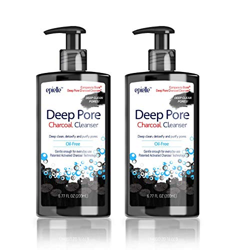 Epielle Deep Pore Charcoal Cleanser | Detoxify and Purify Skin of Dirt and Oil | Oil-Free Cleanser | Energizes Skin with Activated Charcoal | 100% Vegan and Cruelty Free Formula | 6.77 Fl Oz | 2-Pack