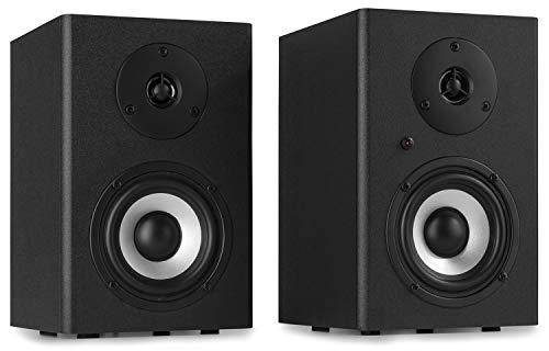 Vonyx SM40 Set di Diffusori Attivi Studio Monitor - Diffusore a 2 vie, Potenza: 100 Watt max. (2 x 50 Watt), Subwoofer da 4', Tweeter da 1', MDF, Controllo Bassi e Alti, Design Elegante, Nero
