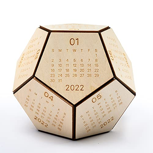 Wooden 12 Sided Calendar 2022 with Christmas Ornament, Hexagon Wood Shape Desktop Calendar, Christmas Decorations, Gifts for Thanksgiving, Dad Gifts