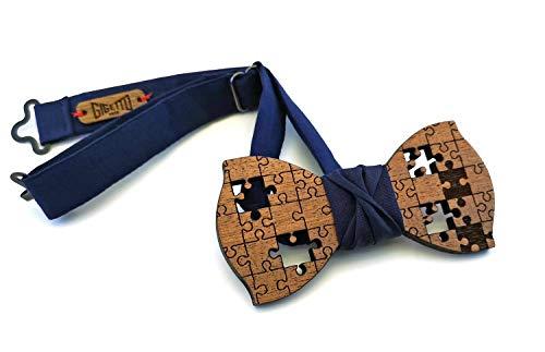 Papillon legno GIGETTO Puzzle Nodo Cotone Blu Notte Made in Italy