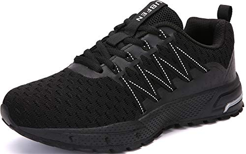 SOLLOMENSI Zapatillas de Deporte Hombres Mujer Running Zapatos para Correr Gimnasio Sneakers Deportivas Padel Transpirables Casual Montaña 43 EU H Negro