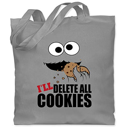Shirtracer Nerds & Geeks - I will delete all cookies Keks-Monster - Unisize - Hellgrau - jutebeutel cookie - WM101 - Stoffbeutel aus Baumwolle Jutebeutel lange Henkel