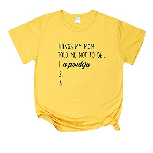 T-Shirt Damen Sommer Casual Bluse Tops Kurzarm Baumwollshirt für Mädchen Unterhemd Shirts mit Letter Things My MOM.Inawayls