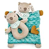 Little Tinkers World Baby Bear Security Blanket Lovey with Cute Stuffed Bear Baby Rattle. Ideal for Baby Boys and Girls. Super Soft for Newborns, Infants and Toddlers.