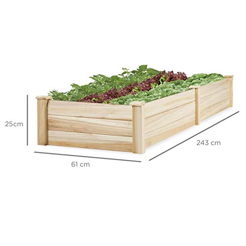 The Fellie Raised Garden Kits Wooden Herb Planter Raised Bed Container Garden Plant Stand Bed - L244xW61xH25.5cm