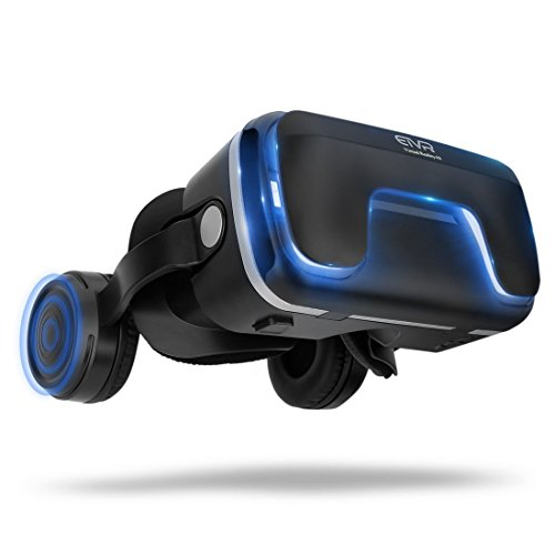 3D Virtual Reality Headset for 3D Movies and Games - VR Headset with Stereo Headphones and Adjustable Straps between 4.7-6 Smartphones(Android/IOS)