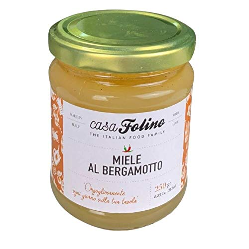 Mieldelizia al Bergamotto 250 gr - Casafolino - Delizioso Miele di Api proveniente da polline e fiori di Bergamotto Calabrese. Ideale per dolcificare e fare dolci