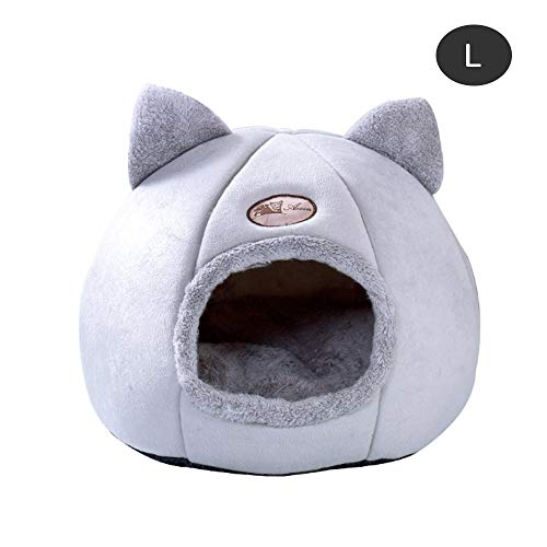 xingxing Cama plegable y extraíble para gatos y gatos, con colchón, cojín gris para mascotas (color: A, tamaño: 47 x 30 x 17 cm)