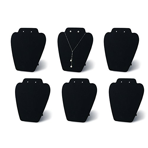7TH VELVET 6 Pieces Black Velvet Easel Necklace & Earing Display 7 3/8 inches W x 8 2/8 inches H, Cover with Sturdy Velvet, Reinforced Bracket
