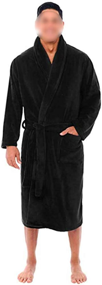 DCMINI Coral Fleece Men's Nightgown Pajamas Autumn and Winter Bathrobes Men's Thickened and Lengthened Bathrobe