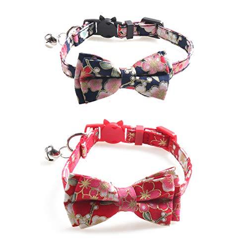 Ciujoy 2pcs Katzenhalsband mit Sicherheitsverschluss und Glöckchen, einstellbar von 7.8-10.2 Zoll, Katzenhalsband Elastisch, Katzenhalsbänder mit Schleife Krawatte für Kätzchen