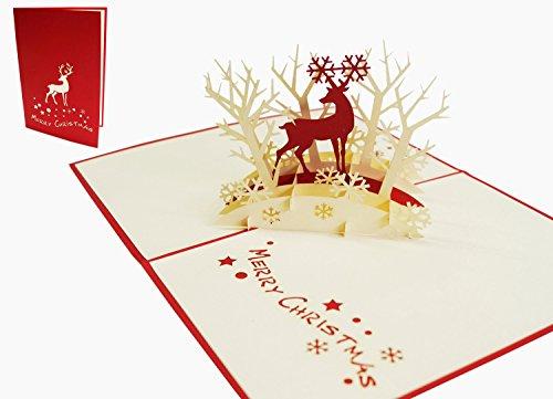LIN17081, POP UP Karte Weihnachten, 3D Grußkarte Weihnachtskarten, Rentier im Wald, N417