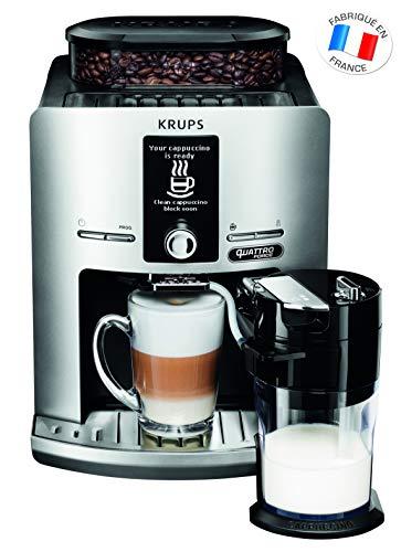Krups Kaffeemühle für Espressobohnen, mit Milchaufschäumer, Topf aus Edelstahl, Kaffeemaschine, Kaffeebohnen Professionell silberfarben