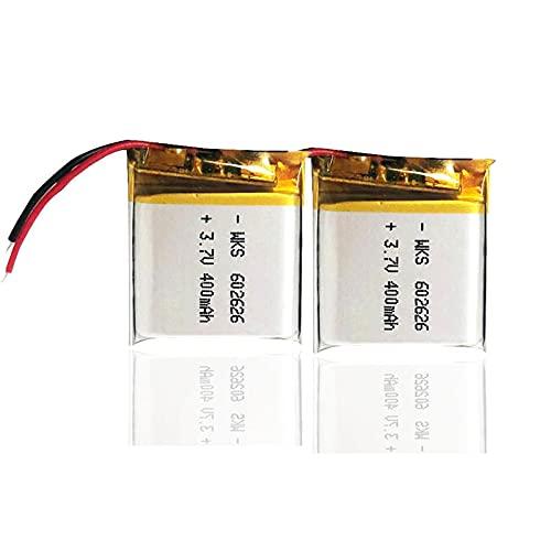 SUGGL 2pcs 400mah 3.7v 602626 Batería Recargable De PolíMero De Litio Li Ion, para Luz Led Auricular Bluetooth para AutomóVil Mp3 Mp4 Controladores Remotos Grabadora De Voz