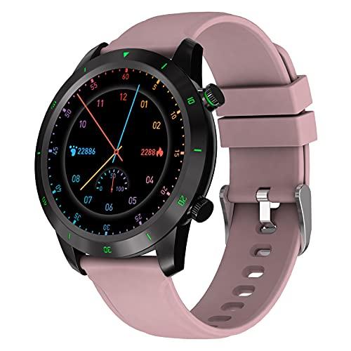 BATQER Smartwatch, Podómetro De Monitorización De Oxígeno En Sangre Y Presión Arterial De Frecuencia Cardíaca, Reloj Inteligente Bluetooth Impermeable IP68,Rosado