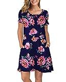 KORSIS Women's Summer Floral Dresses T Shirt Dress Pink Flower Navy Blue 3XL