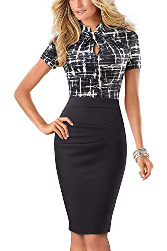 HOMEYEE Damen Vintage Stehkragen Kurzarm Bodycon Business Bleistift Kleid B430 (EU 40 = Size L, Schwarz)