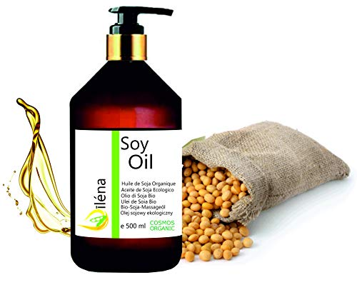 Oïléna Huile de massage Biologique de Soja, Huile corporelle Organique pour massages et hydratant Pressée à froid, Vegan, 100% pure et légère (500 ml)
