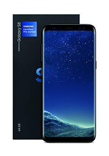 """Samsung Galaxy S8 (G950u GSM only) 5.8"""" Unlocked Smartphone for all GSM Carriers - Midnight Black (Certified Refurbished)"""