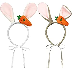 Lamphyface 2 PCS Easter Dog Bunny Ears Headband Costume Rabbit Pet Halloween Accessories for Small to Large Dogs