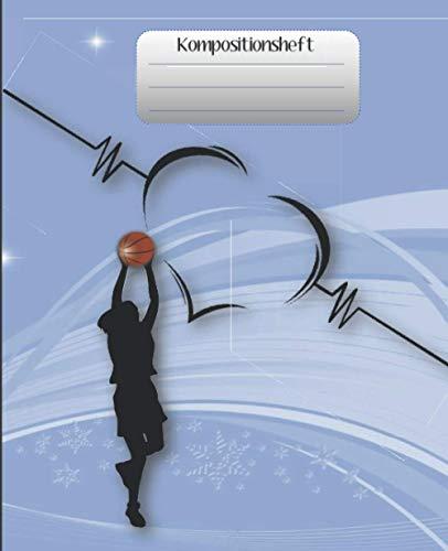 Kompositionsheft: C. |Liniertes Papier| Basketball-Notizbuch | (7,5 x 9,25 Zoll) 110 Seiten | Für Jungen Mädchen Kinder Jugendliche Studenten |