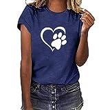 Camisetas para mujer, ajuste holgado, diseño gráfico de huellas de perro, corazón, impresión de partido, manga corta, blusa para dueño de perro, regalos para amantes