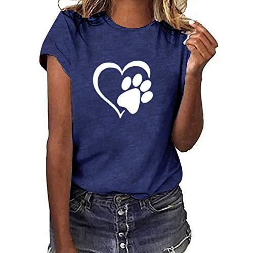 Camisetas para mujer con estampado de huellas de perro, estampado de corazón y manga corta, blusa, dueño de perros, regalos para amantes del perro