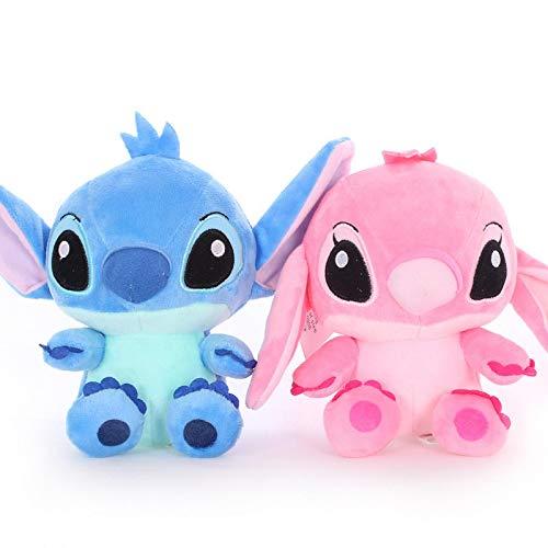 2 unids / set 18 CM Stitch and girlfriend peluches disney pink...