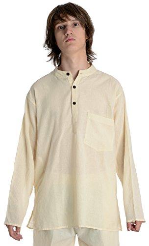 Fischerhemd Natur beige Baumwoll-Hemden Kurta Hemd XXXL