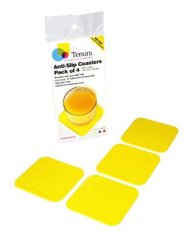 maddak shelf liners SP Ableware Tenura 100 Percent Silicone Non-Slip Square Coaster - Yellow, Pack of 4 (753720903)