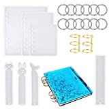 FHYT 19 PCS/Set Notebook Cover Resin Casting Molds Silicona Bookmark Resin Mold 4pcs for Notebook Cover A5 A6 A7 with Book Page Binder Rings