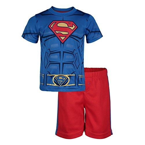DC Comics Superman Sportkleidung, Verkleidung mit aufgedruckten Muskeln und passender Hose für Jungen, 3-4 Jahre