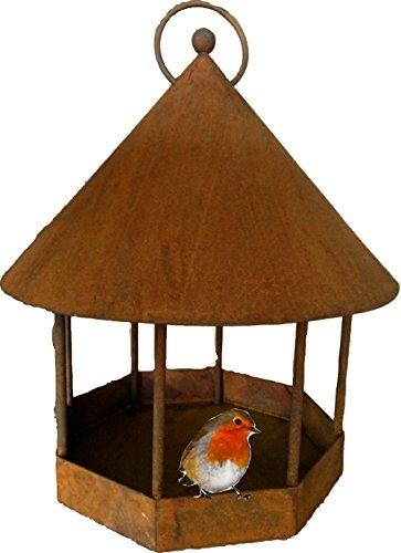 Vogelhaus Vogelfutterhaus groß aus Rost zum hängen Ø 25 cm, 30 cm hoch Futterstelle Vogelfutterstation