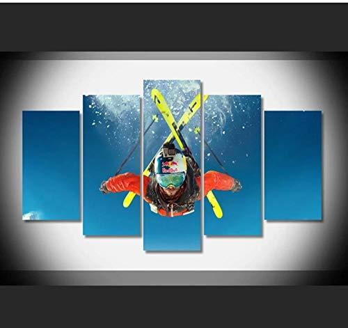5 Aufeinanderfolgende Malerei Dekorative Tapete Wandmalerei Kunst Leinwand Gemälde 5 Panel Luftschlitten Leinwand Wandkunst