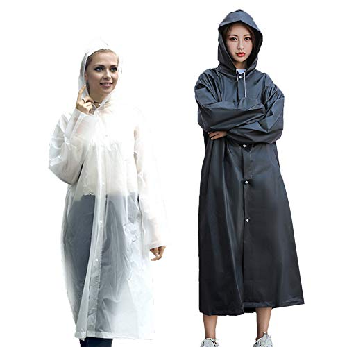 Rain Poncho Reusable, 2 Pack Adult Raincoat with Hoods and Sleeves, Thicken Clear Ponchos for Men Women Teens, 45.2' x 24.8' (White+White)