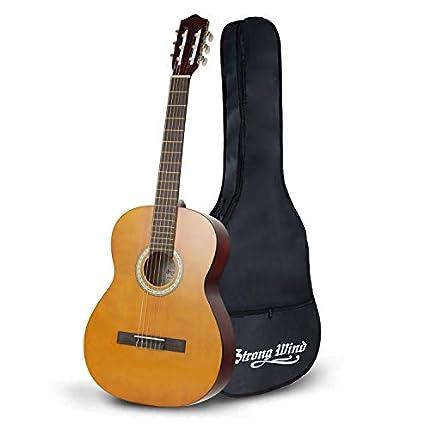Guitarra para principiantes Strong Wind Guitarra clásica Guitarra acústica 39 pulgadas 6 cuerdas de nylon para principiantes de guitarra para estudiantes Niños adultos