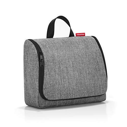 reisenthel toiletbag XL WO7052 in twist silver – Kulturbeutel mit 4l Volumen – Aufklappbar mit Haken zum Aufhängen und Spiegel – B 28 x H 25 x T 10 cm