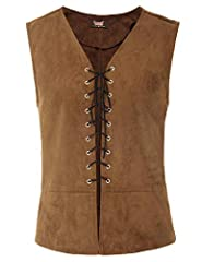 FEATURES: Sleeveless, V-Neck, Lace-up front Great accessory for pirate, renaissance medieval or theatrical costume Warm Tips: Hand wash in cold water, do not use machine,hang it dry Package Contents: 1*Vest(No Other Accessories Included) NOTICE: Befo...