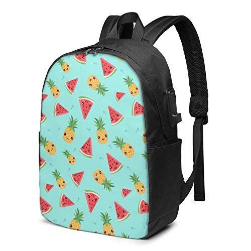 Hdadwy Smiling Pineapple Watermelon USB Backpack 17 Inch Laptop Backpack Business Travel College School Backpack