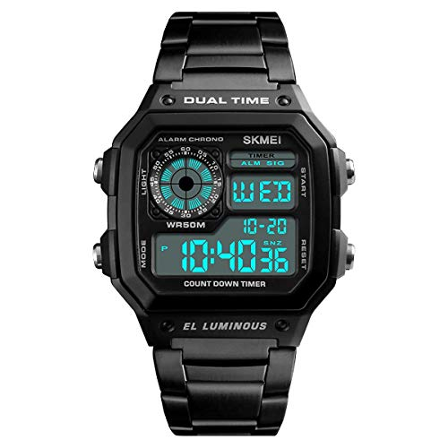 Skmei DG1335S Digitale Herren-Armbanduhr mit klarem Display, Edelstahlband, Datumsanzeige, Wecker, Stoppuhr