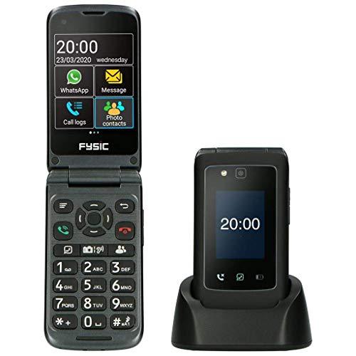Fysic F20 Senioren Handy ohne Vertrag - Klapphandy - Notruftaste - Doppeltes Bildschirm - Whatsapp - Laute Gesprächslautstärke (+24 dB) - Einfache Bedienung - Ladestation - Schwarz