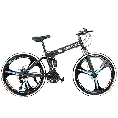 Adult Mountain Bike, Unisex Folding Outdoor Bicycle, 26in Folding Mountain Bike for Men and Women Outdoor Racing Cycling-?U.S. Shipping? (B)