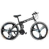 Adult Mountain Bike, Unisex Folding Outdoor Bicycle, 26in Folding Mountain Bike for Men and Women Outdoor Racing Cycling-【U.S. Shipping】 (A)