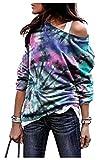 Camicetta Colorata Donna T Shirt Gradient Maglietta Tie Dye Arcobaleno Blusa Monospalla Tunica Spalle Scoperte Pullover Manica Lunga Sweatshirt Streetwear Felpa Senza Cappuccio Ragazza Top Multicolore