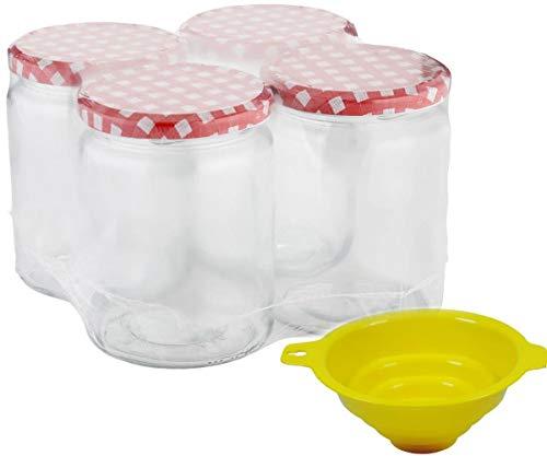 Viva Haushaltswaren - 4 x großes Marmeladenglas / Einmachglas 540 ml mit Deckel, Twist-off Gläser Set rund - als Einweckgläser, Vorratsdosen etc. verwendbar (inkl. Trichter)